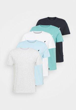 5 PACK - T-shirt basique - light grey - 101_white - 001_green - 602