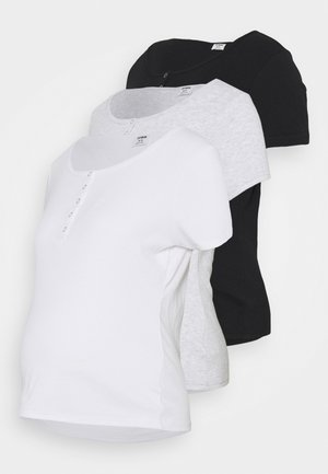 MATERNITY HENLEY SHORT SLEEVE 3 PACK - Basic T-shirt - black/white/silver