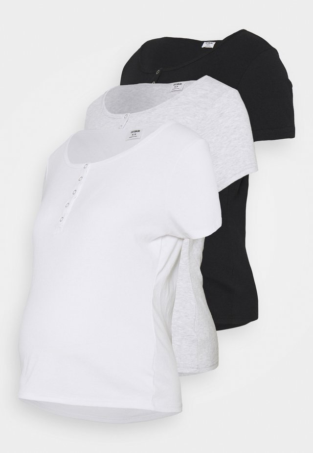 MATERNITY HENLEY SHORT SLEEVE 3 PACK - T-shirt basic - black/white/silver
