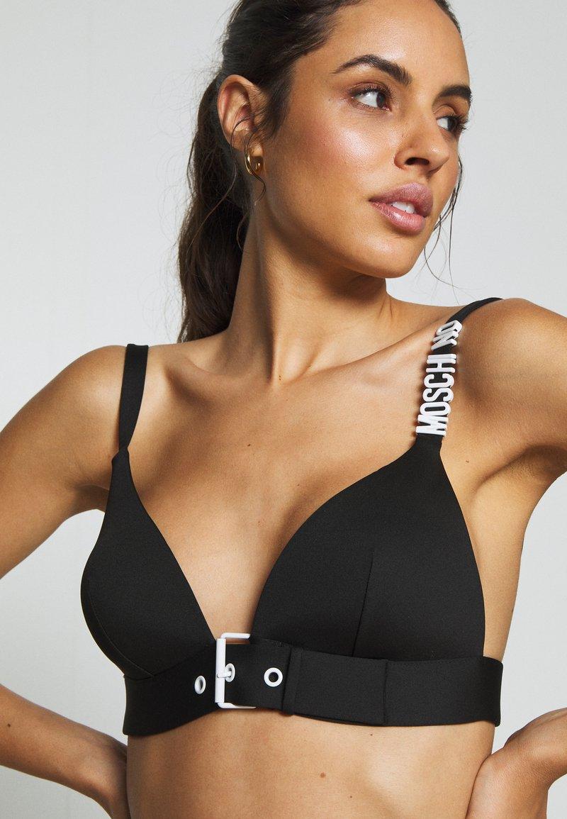MOSCHINO SWIM - TRIANGLE BRA - Bikini top - black