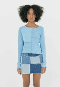 Stradivarius - MIT PATCHWORK - Long sleeved top - blue - 2
