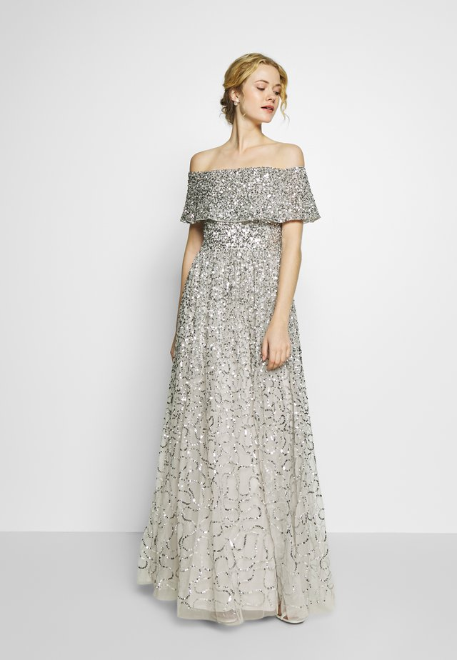 SCATTERED SEQUIN BARDOT MAXI DRESS - Gallakjole - soft grey
