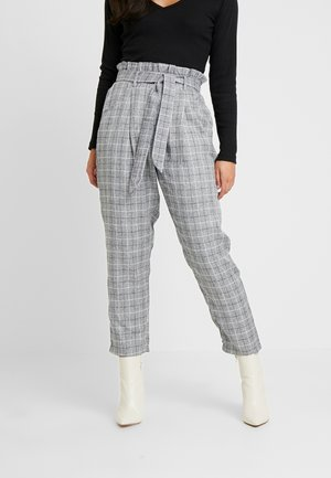 PAPERBAG WAIST CHECK TROUSERS - Kangashousut - grey