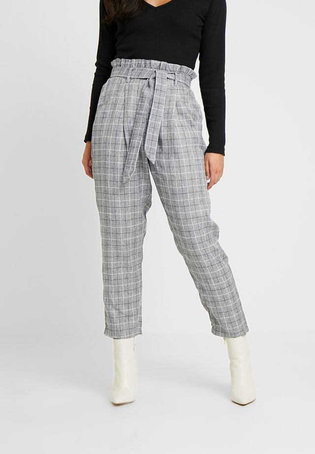 PAPERBAG WAIST CHECK TROUSERS - Spodnie materiałowe - grey