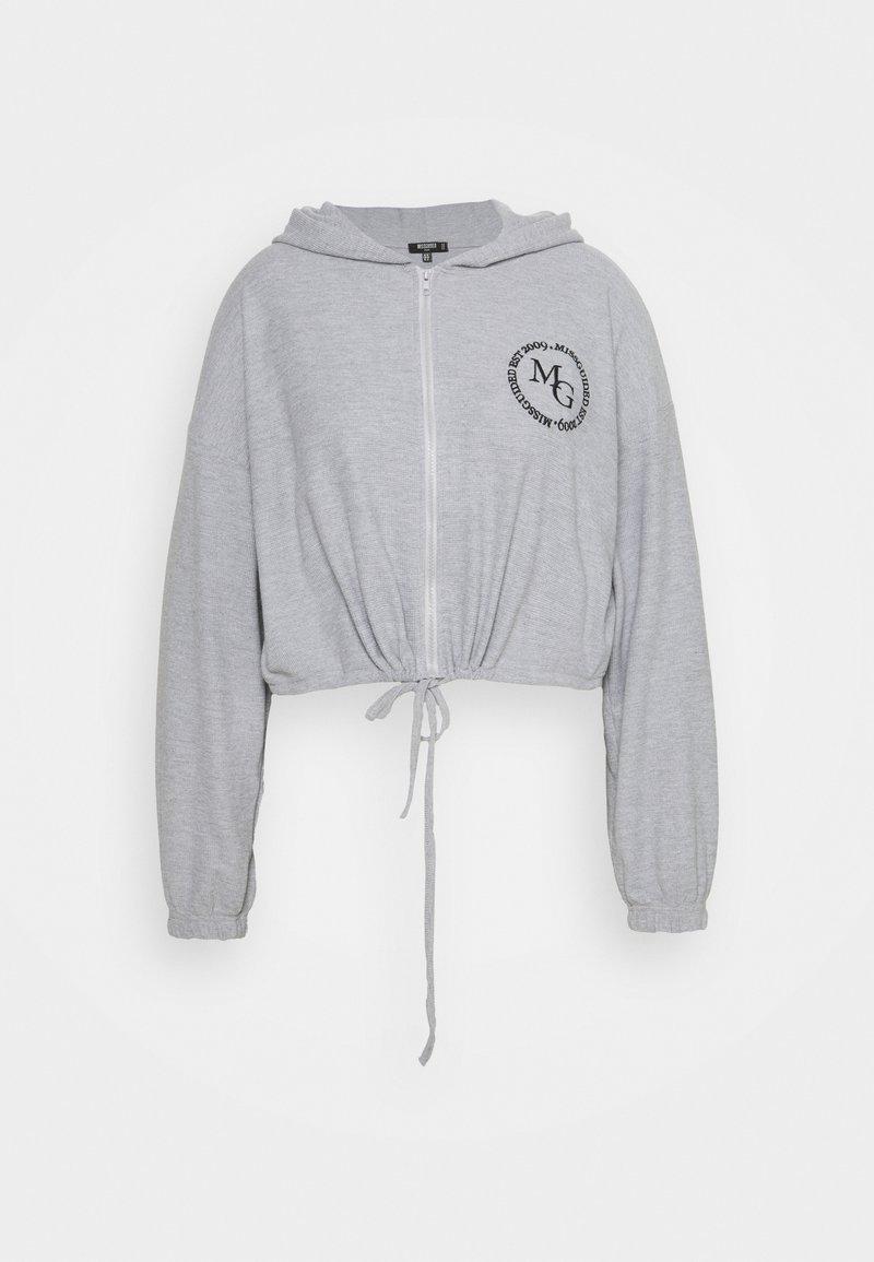 Missguided Plus - CROPPED HOODIE WAFFLE MISSGUIDED - Sweatshirt - grey
