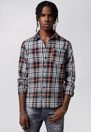 RAVIL - Shirt - black/white/sunrise orange