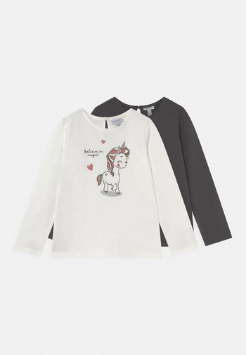 2 PACK - Long sleeved top - snow white/asphalf