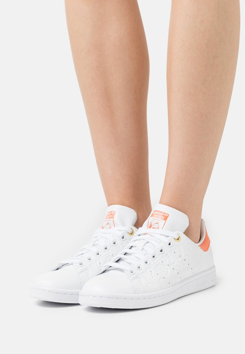 adidas Originals - STAN SMITH - Trainers - footwear white/semi coral/chalk white