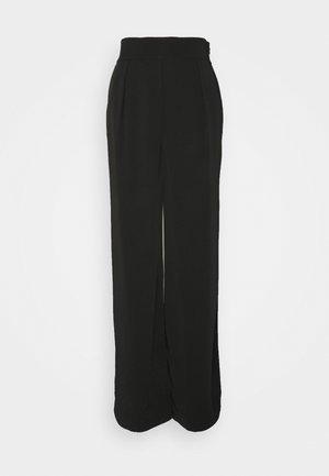 HIGH WAISTED WIDE LEG SUIT PANTS - Spodnie materiałowe - black