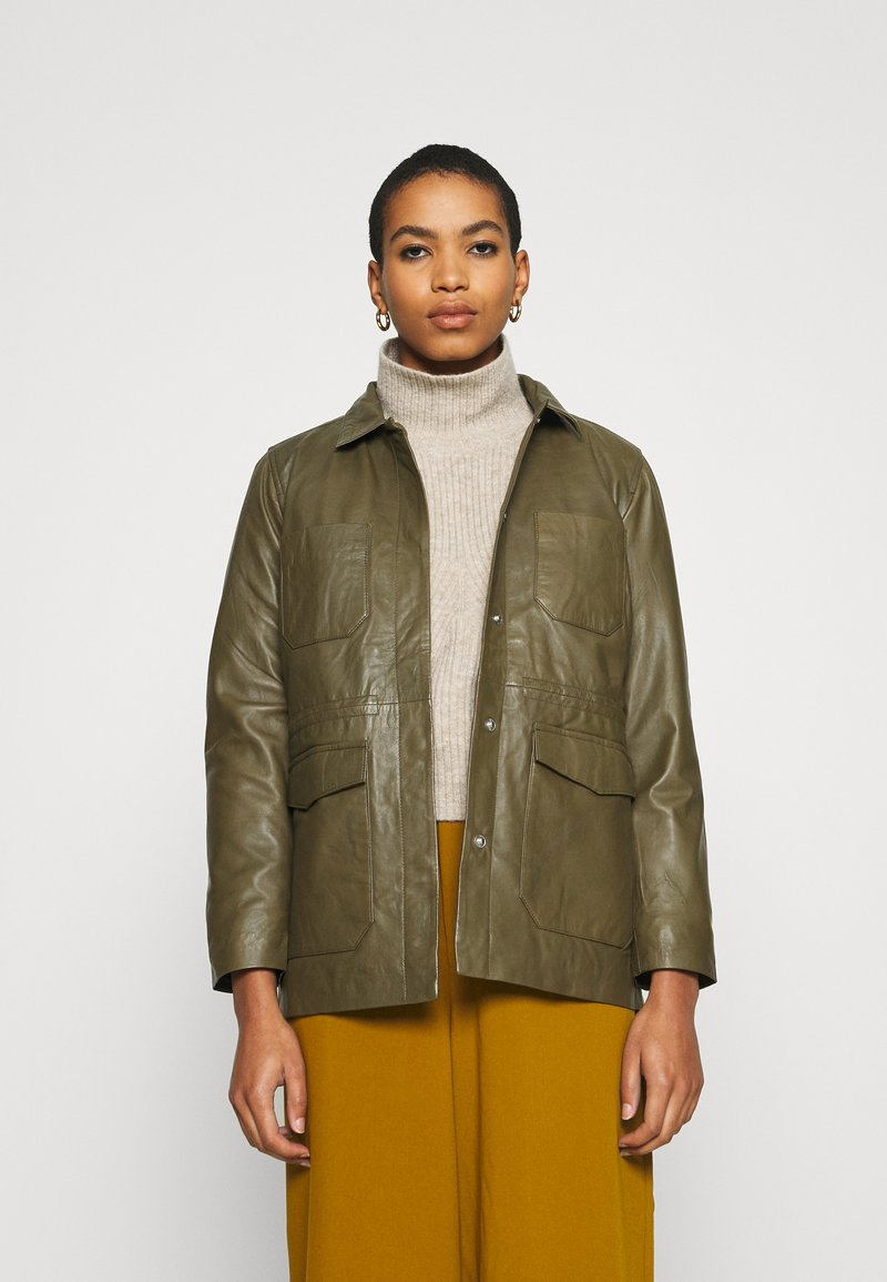 Soft Rebels - SRMATHILDA JACKET - Leather jacket - dark olive