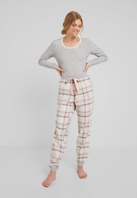 Hunkemöller - PANT TWILL CHECK CUFF - Nattøj bukser - cloud pink - 1