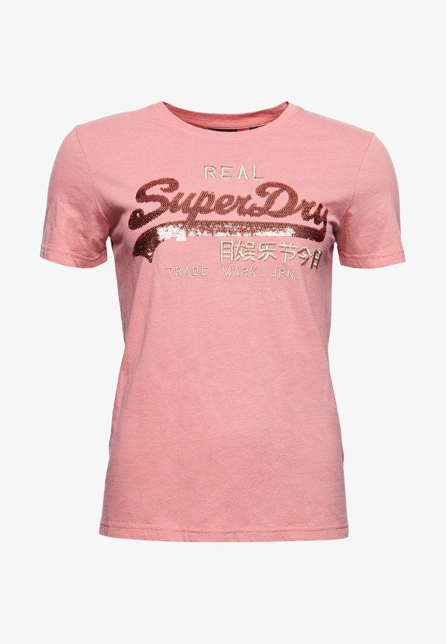 VINTAGE LOGO SEQUIN - Print T-shirt - smoke rose