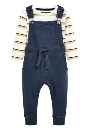 BLUE DUNGAREES AND STRIPE T-SHIRT SET (3MTHS-7YRS) - Haalari - blue