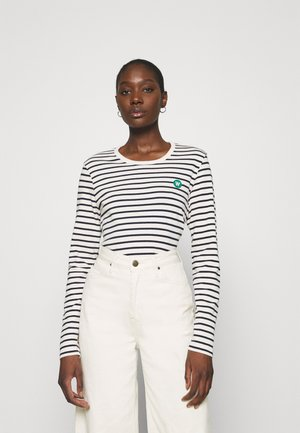 LONG SLEEVE - Long sleeved top - off white/navy stripes