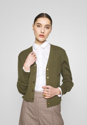 V-NECK BUTTON THROUGH - Cardigan - khaki