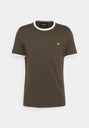 RINGER TEE - Basic T-shirt - trek green/white