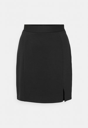 Mini princess seams skirt high waisted with slit - Pencil skirt - black