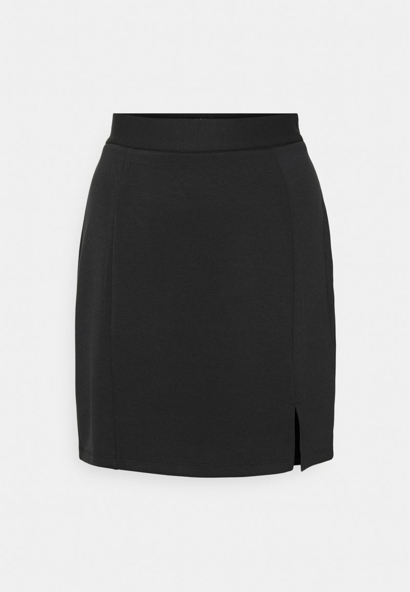 Zign - Mini princess seams skirt high waisted with slit - Pencil skirt - black