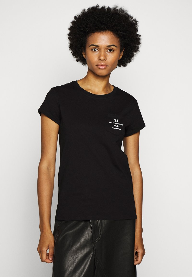 KARL LAGERFELD - ADDRESS LOGO POCKET - T-Shirt print - black