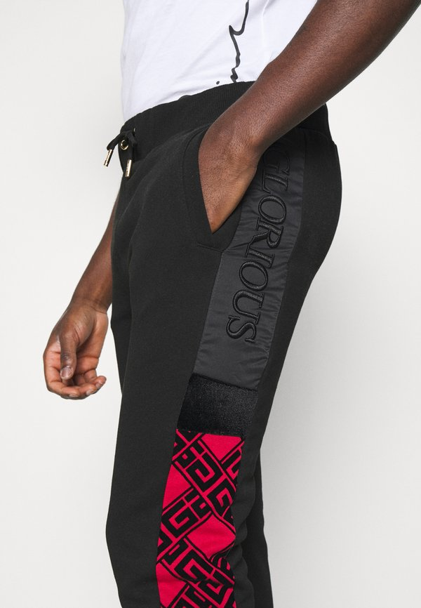 Glorious Gangsta GALVEZ JOGGER - Spodnie treningowe - black /red/czarny Odzież Męska ZVQR