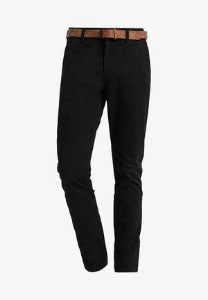 WITH BELT - Chino kalhoty - black