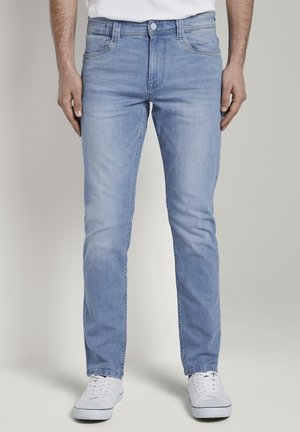 TOM TAILOR JEANSHOSEN JOSH REGULAR SLIM JEANS MIT VERSETZTER MÜN - Slim fit jeans - bright blue denim