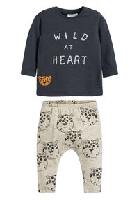 Next - MONOCHROME T-SHIRT AND LEGGINGS SLOGAN SET (0MTHS-2YRS) - Leggings - Trousers - black - 0