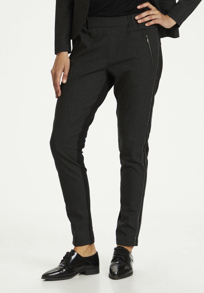 Kaffe - Trousers - dark grey melange