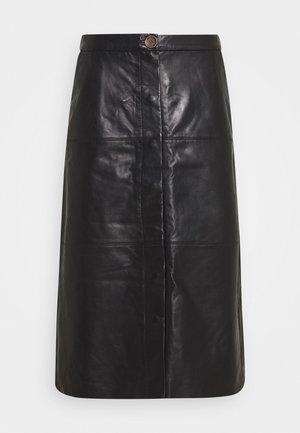 PEYTON - Leather skirt - black