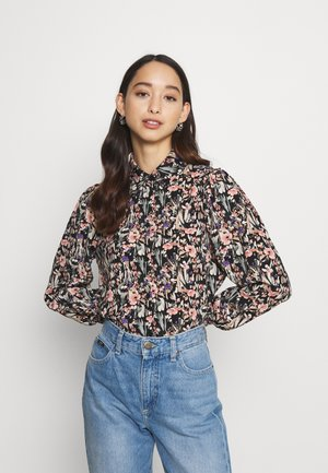 ONLJESS SMOCK TOP  - Button-down blouse - black/multi coloured