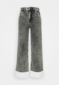 NU-IN - STEFANIE GIESINGER CONTRAST TURN UP WIDE LEG - Relaxed fit jeans - black wash - 4