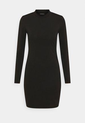 Mini high neck long sleeves bodycon dress - Shift dress - black