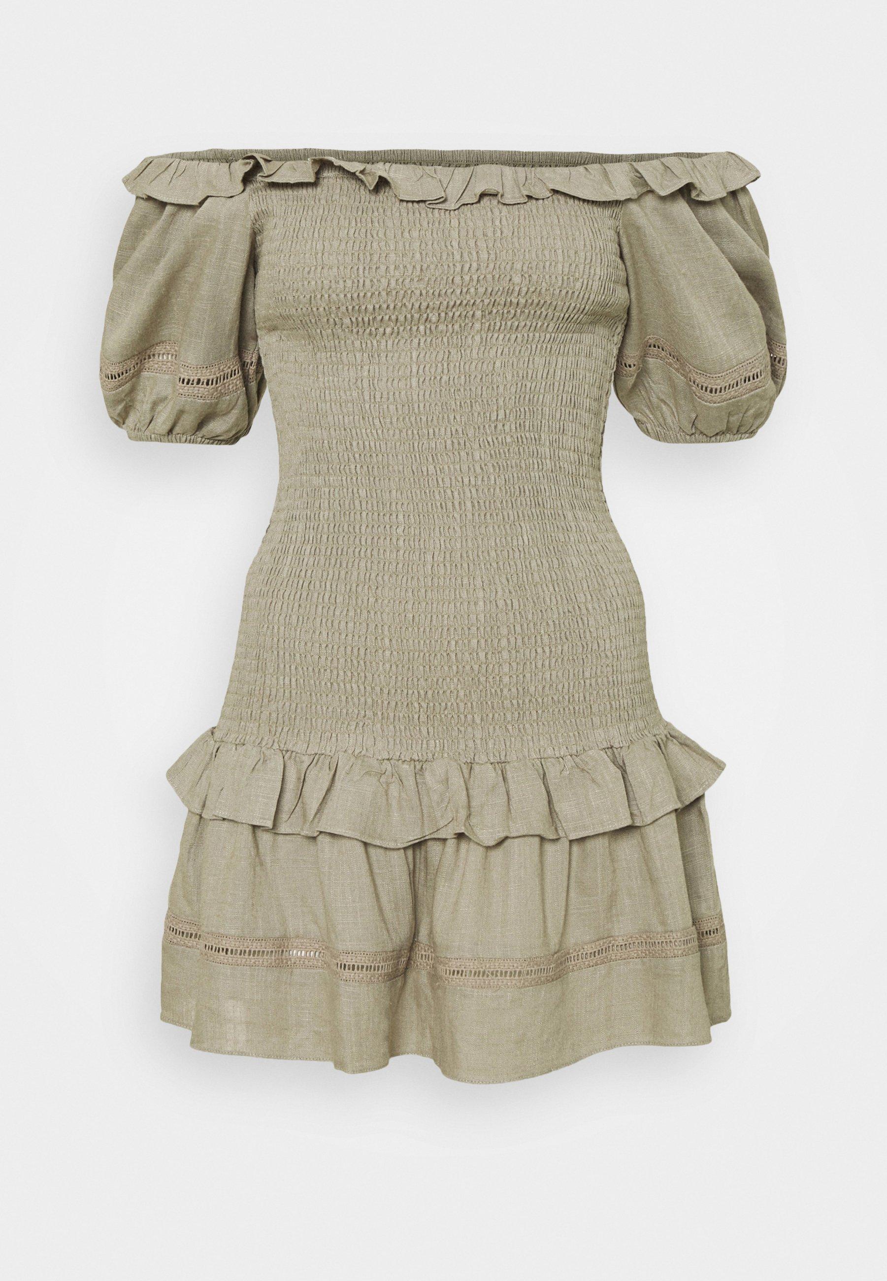 Women BARDOT SMOCKED BODY MINI DRESS WITH RUFFLE DETAILS AND PUFF - Day dress