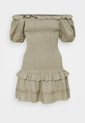BARDOT SMOCKED BODY MINI DRESS WITH RUFFLE DETAILS AND PUFF - Day dress - stone