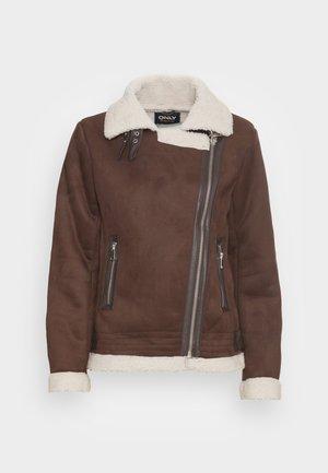 ONLDIANA BONDED AVIATOR JACKET  - Faux leather jacket - black coffee