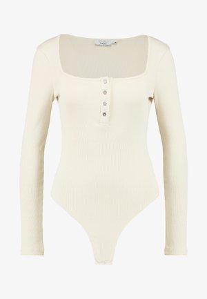 Pamela Reif x NA-KD LONG SLEEVE BUTTON DETAIL BODYSUIT - Top sdlouhým rukávem - beige