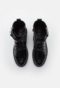 New Look - BEAM LACE UP CHUNKY - Cowboystøvletter - black - 5