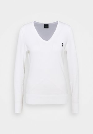CLASSIC V NECK - Long sleeved top - white