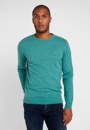 BASIC CREW NECK - Jumper - dusty teal green melange