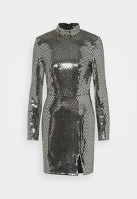 Missguided - FOIL SEQUIN HIGH NECK MINI DRESS - Cocktail dress / Party dress - black - 4