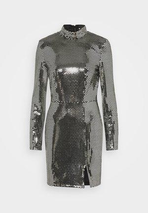 FOIL SEQUIN HIGH NECK MINI DRESS - Cocktail dress / Party dress - black