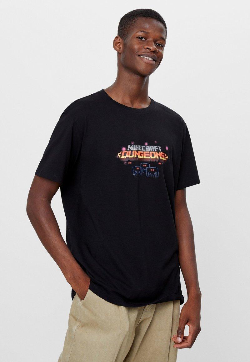 Bershka - T-shirt imprimé - black