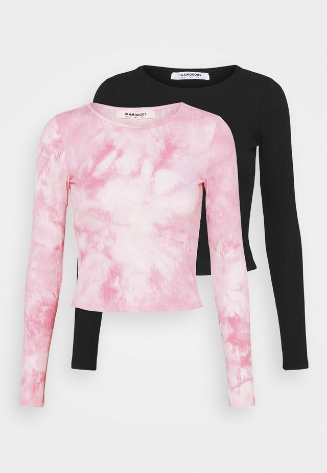 2 PACK TEE - Top sdlouhým rukávem - pink tie dye/black