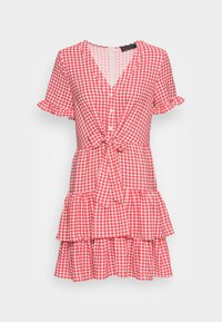 IN THE STYLE - JAC JOSSA GINGHAM TIE FRONT DRESS - Kjole - red - 3