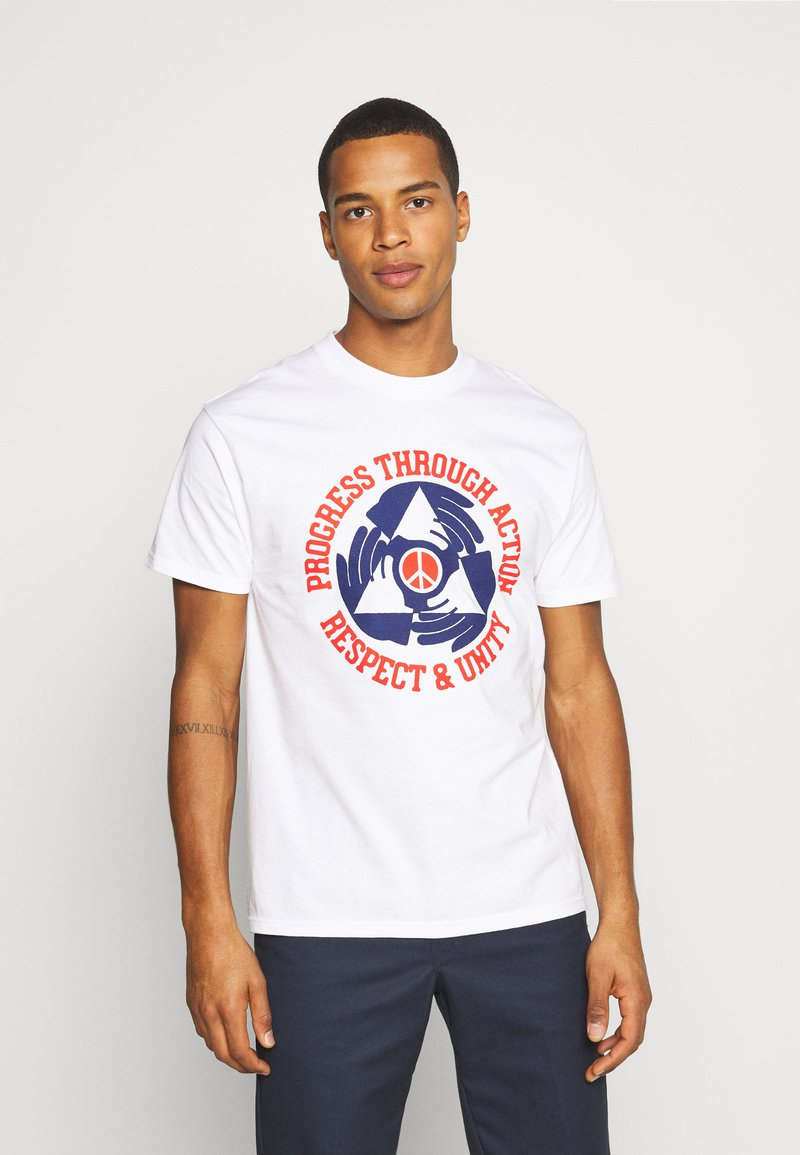Obey Clothing - RESPECT AND UNITY - T-shirt con stampa - white