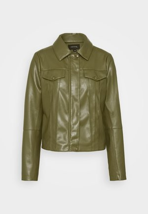 Faux leather jacket - deep green