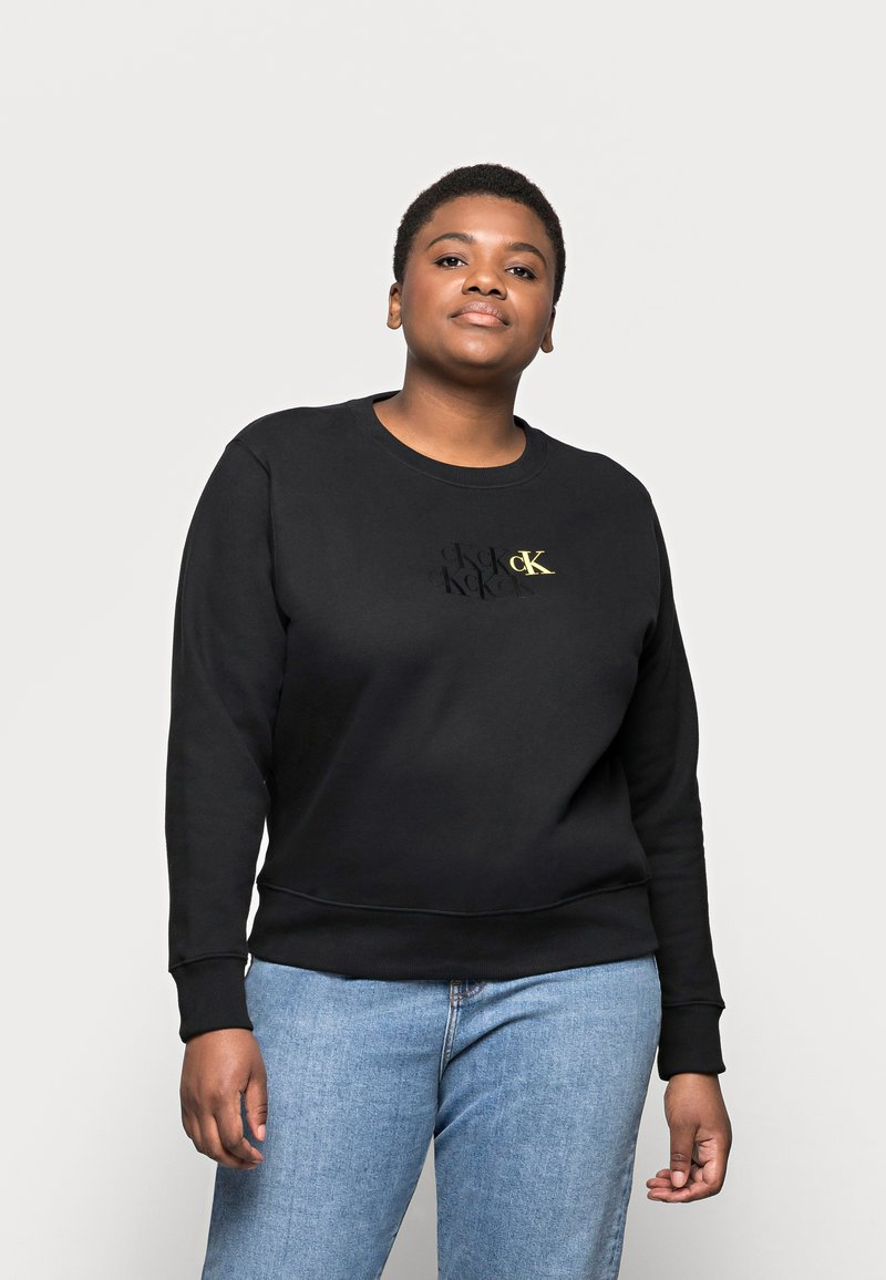 Calvin Klein Jeans Plus - MONOGRAM CREW NECK - Sweatshirt - black