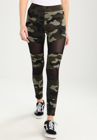 Urban Classics - LADIES CAMO TECH - Leggings - wood/black - 0