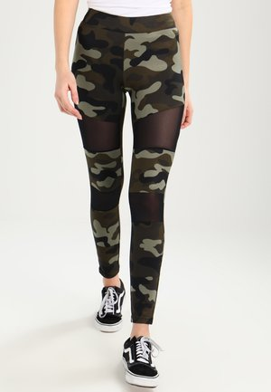 LADIES CAMO TECH - Legginsy - wood/black