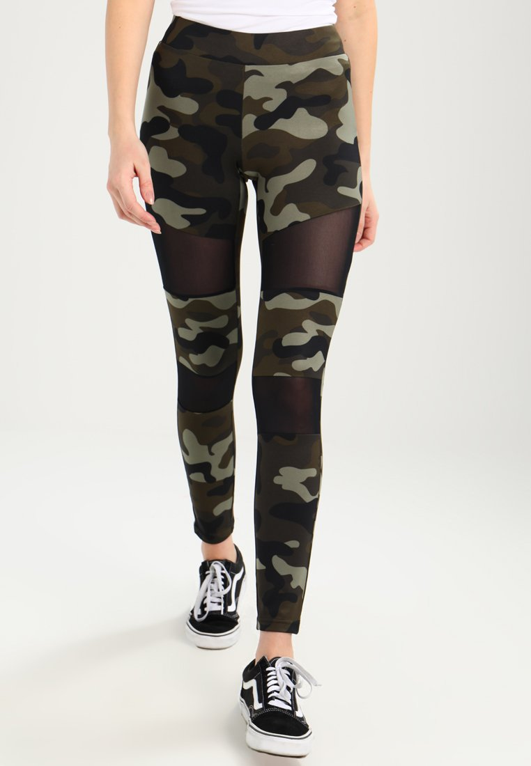 Urban Classics - LADIES CAMO TECH - Leggings - wood/black